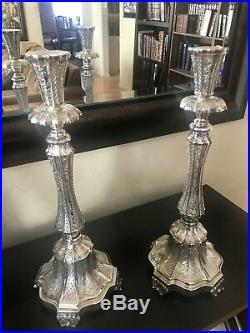 Sterling Silver 925 Vintage Hammered Antique Candlesticks. Stunning