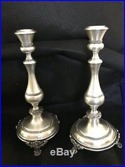 Sterling Silver Filigree Design Candlesticks By BEN ZION Vintage Rare Find