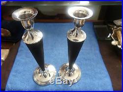 Sterling Silver & Wood Reykjavik Iceland Vintage Art Deco Candlesticks