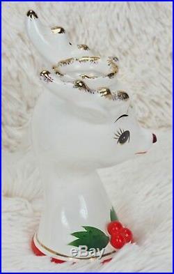 True Vintage Rudolph Christmas Candle Stick Holder Pair Japan Gold Metallic