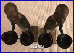 Unique vintage brass painted metal golden monkey butler Candlestick holders