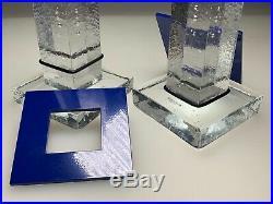 VTG Bertil Vallien KOSTA BODA Art GLASS CANDLESTICK Set BOXES Mid Century Modern