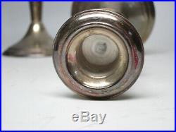 VTG GORHAM Sterling Silver Candle Sticks Holder 7.5 Pair Compote Glass Inserts