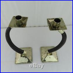 VTG Pair Airedelsur Argentina Horn Candlesticks 1980s Signed Silver Mounted RARE