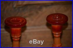 Vintage 1920's Fenton FLAME Mandarin Red Marble Slag Glass 8 Candlesticks Pair