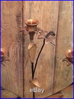 Vintage 22 Brass Candelabra 5 Candlestick Holder Floral Flowers RARE
