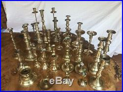Vintage 33 Assorted Brass Candlesticks + 2 Silver Plate Fab Wedding Decoration