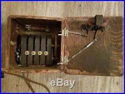 Vintage Antique Kellogg Candlestick Telephone & Wood Crank Ringer Box 1901-1908