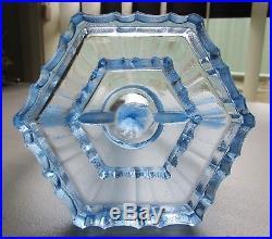 Vintage Art Deco Blue Depression Glass Semi Nude Lady Centrepiece Candlestick