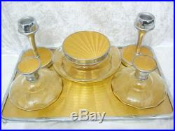 Vintage Art Deco sunburst yellow enamel & chrome dressing table set candlesticks