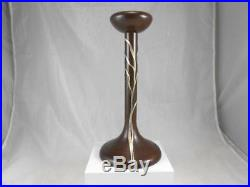 Vintage Arts & Crafts Heintz Art Metal Sea Grass Sterling On Bronze Candlestick