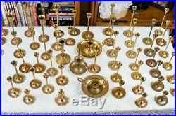 Vintage Brass Candlestick Holders Tapered Graduated Home Decor Wedding Lot of 65