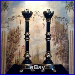 Vintage Brass and Ebonized Wood Church Altar Candlesticks