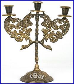 Vintage Candle Holder Gothic Candelabra Shabbat Candlesticks, Judaica c1960