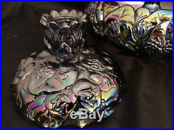 Vintage Carnival Glass Fenton Water Lily Nymph Flower Frog Candlestick Holders