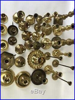 Vintage HUGE Mixed Lot 32 Solid BRASS Candlestick Holders Party Weddings Event A