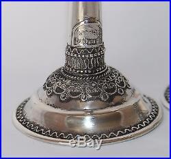 Vintage Judaica Rare Bezalel Sterling Candlesticks Yemenite Filigree #ju-202
