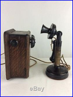 Vintage Kellogg Candlestick Telephone With Ringer Box Switchboard Antique Clean