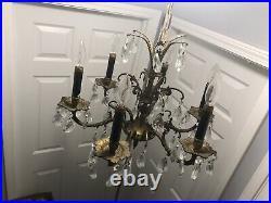 Vintage Ornate 6-Arm Brass Candlestick Chandelier with 60 Crystal Prisms