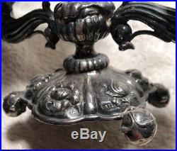 Vintage Ornate Floral 800 Silver Candlestick Holder- 13 Loth