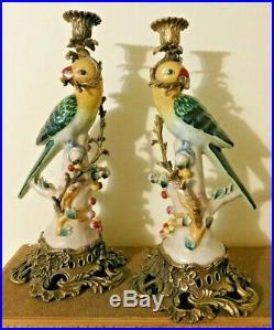 Vintage PAIR 14 Porcelain Cast Bronze or Brass Parrot Bird Candlestick Holders