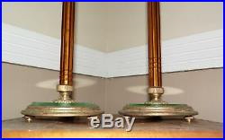 Vintage Pair Art Deco Hollywood Regency Amber Glass Candlestick Table Lamps