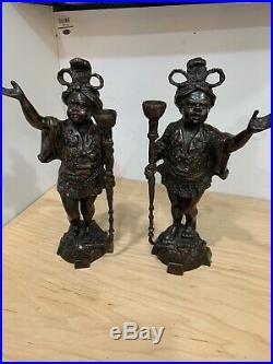 Vintage Pair Elegant Bronze Tone Blackamoor Candle Stick Torch Statue Figurine
