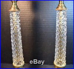 Vintage Pair French Empire Style Gilt Bronze and Crystal (Glass) Candlesticks