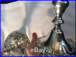 Vintage Pair Gorham Sterling Silver Chantilly Duchess Candlesticks 749