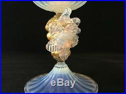 Vintage Pair Of Murano Hand Blown Opaline Italian Art Glass Candle Stick Holders