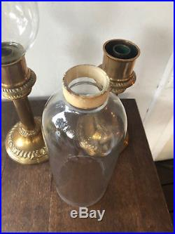 Vintage Pair of 2 Mottahedeh Brass Candlesticks with Hurricane Glass Shades -21.5