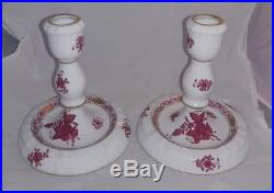 Vintage Pair of Herend Chinese Bouquet Raspberry Candlesticks
