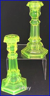 Pair of 8 12 Antique Uranium Vaseline Glass Candlesticks Candle Holders