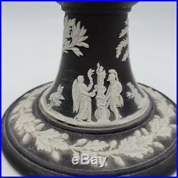 Vintage Pair of Wedgwood Black Basalt with White Highlight Candlesticks 5