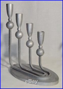 Vintage Palmer Smith Candelabra Aluminum Candlestick Holder Art Deco 4 Candle