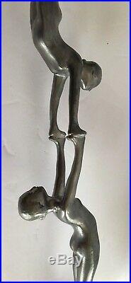 Vintage Petites Choses Tall Metal Candle Stick Art Deco Female Acrobats
