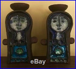 Vintage Pottery Mid Century KARI ODKA Danish Candlesticks
