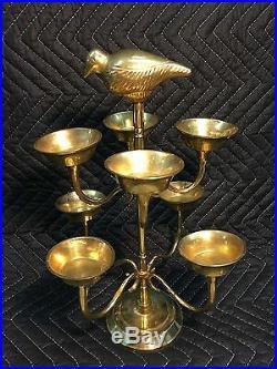 Vintage Rare Solid Brass Candlestick Candelabra Bird Finial Candle Holder