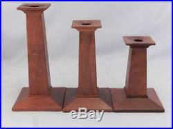 Vintage Signed STICKLEY MissionArts & Crafts Style Wood CandlesticksHolders