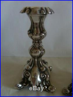 Vintage Sterling Silver- Small Medium Size- Polish Style- Pair Of Candlesticks