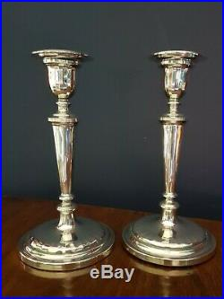 Vintage Sterling Silver Weighted Candlesticks. Pair. 18.5cm London 1960. 741gms