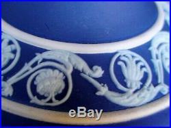 Vintage Wedgwood Cobalt Jasperware Candlestick Hoolders With Classical Figures