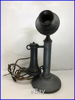 Vintage Western Electric Candlestick Telephone 323 Bower Barff Finish Antique