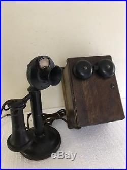 Vintage Western Electric Company Candlestick Phone Ringer Box & Crank Nice