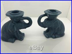 Vintage XVIII ROOKWOOD Elephant Candle Sticks Blue