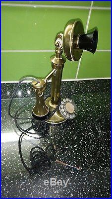 Vintage black / brass candlestick, GPO type No 150 telephone