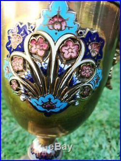 Vintage brass and enamel heavy display piece / Candlestick Cherub handles