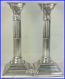 Vintage hallmarked Sterling Silver 21cm Corinthian Column Candlesticks 1985
