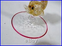Vtg SALVIATI Venetian Murano Glass Dolphin Candlestick