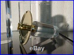 Xxl 3 candlesticks lucite gilded brass Jones Hollis, karl springer vintage 1970s